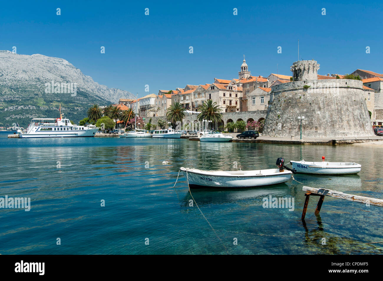 Korcula island harbour, Croatia, Europe - Stock Image