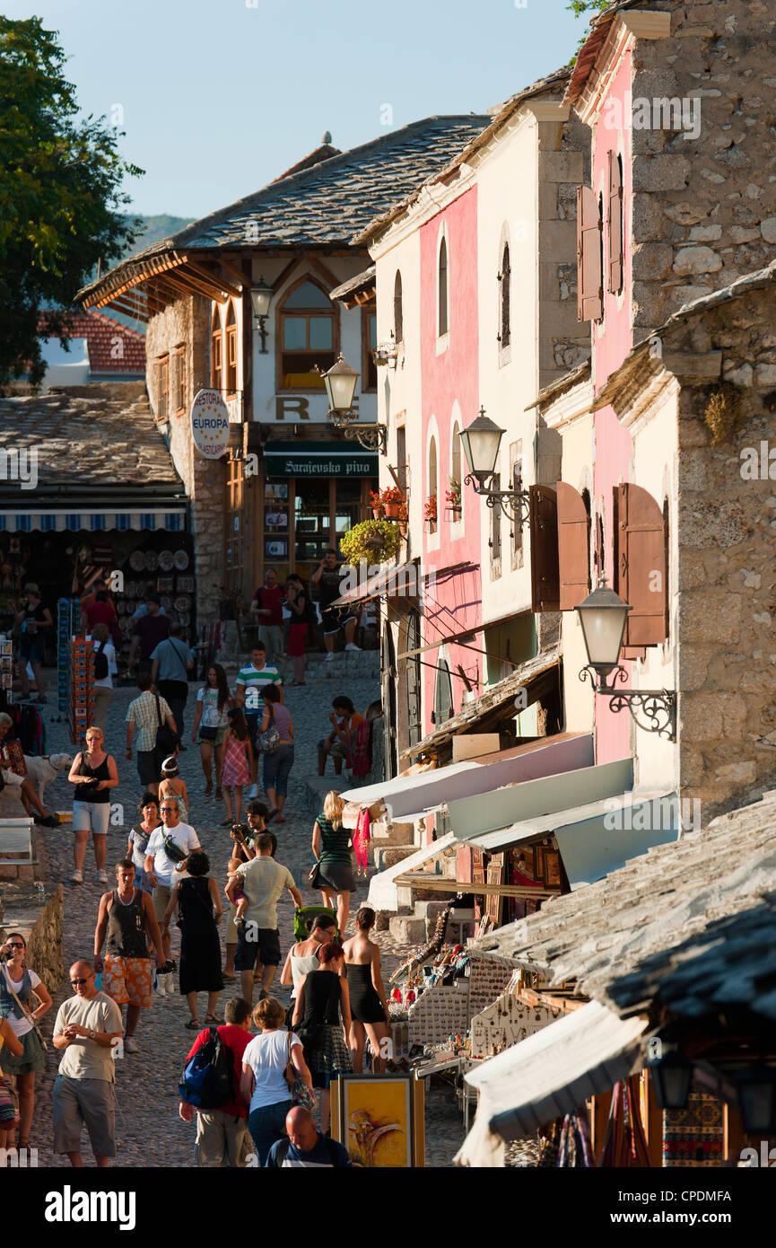 Old town, Mostar, municipality of Mostar, Bosnia and Herzegovina, Europe - Stock Image