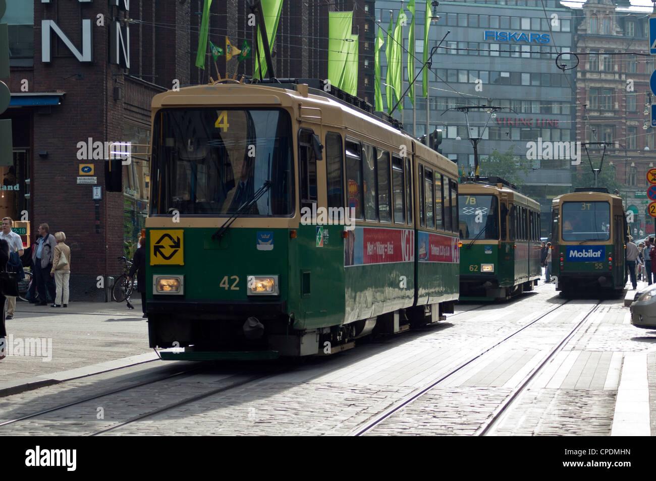 Trams in Helsinki, Finland, Scandinavia - Stock Image
