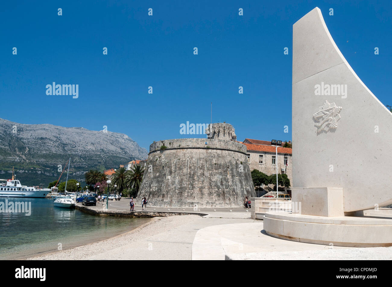 Beach and harbor at Korcula, Croatia, Europe - Stock Image