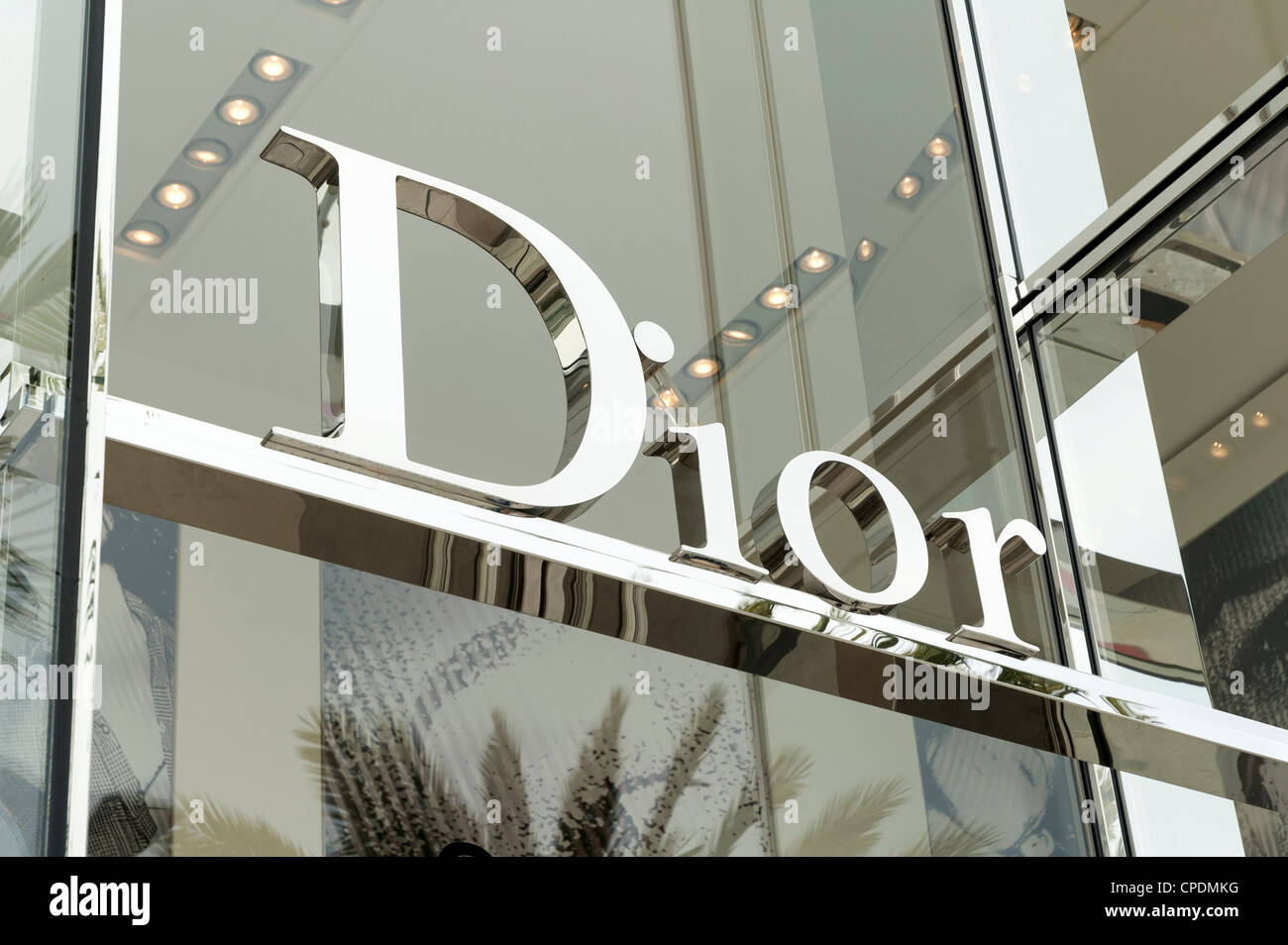 Dior sign - the luxury shopping brand - Stock Image