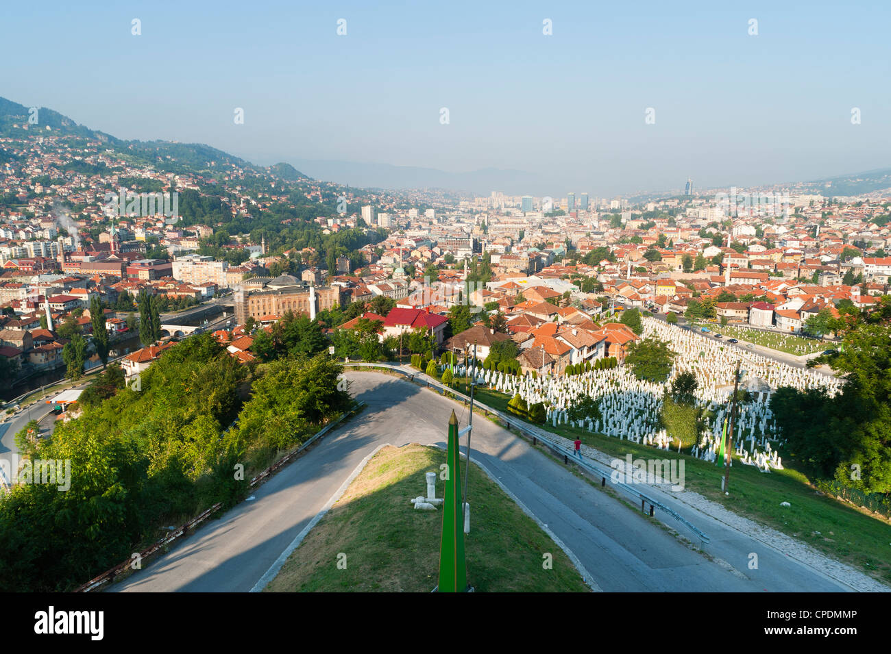 View of Sarajevo from Yellow Bastion, Sarajevo, Bosnia and Herzegovina, Europe - Stock Image