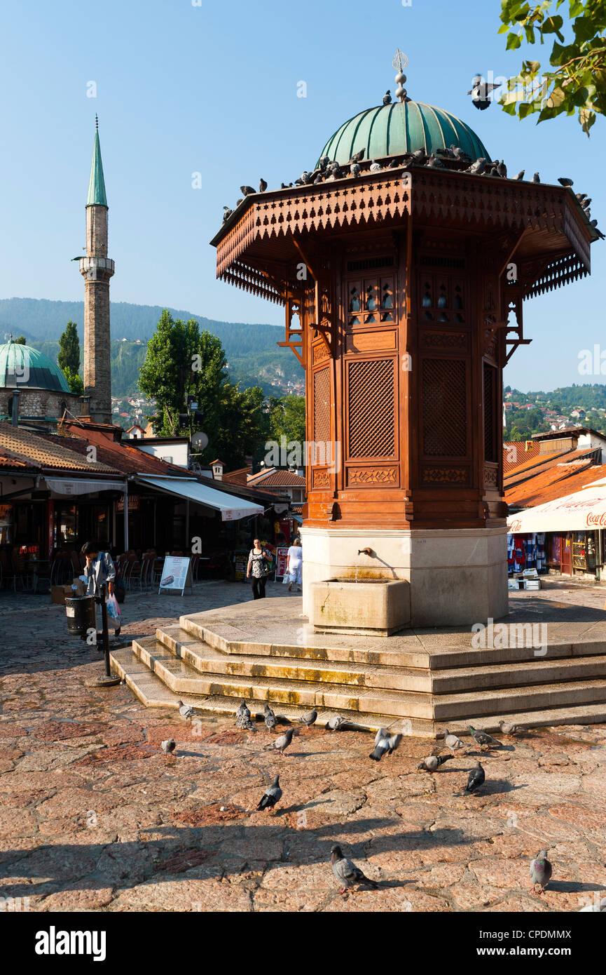 Sebilj fountain in Pigeon Square, Sarajevo, Bosnia and Herzegovina, Europe - Stock Image