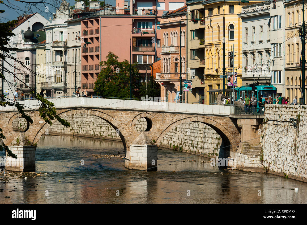 Latinska Cuprija (Latin Bridge) over Miljacka River, place of murder of Archduke Ferdinand, Sarajevo, Bosnia and - Stock Image