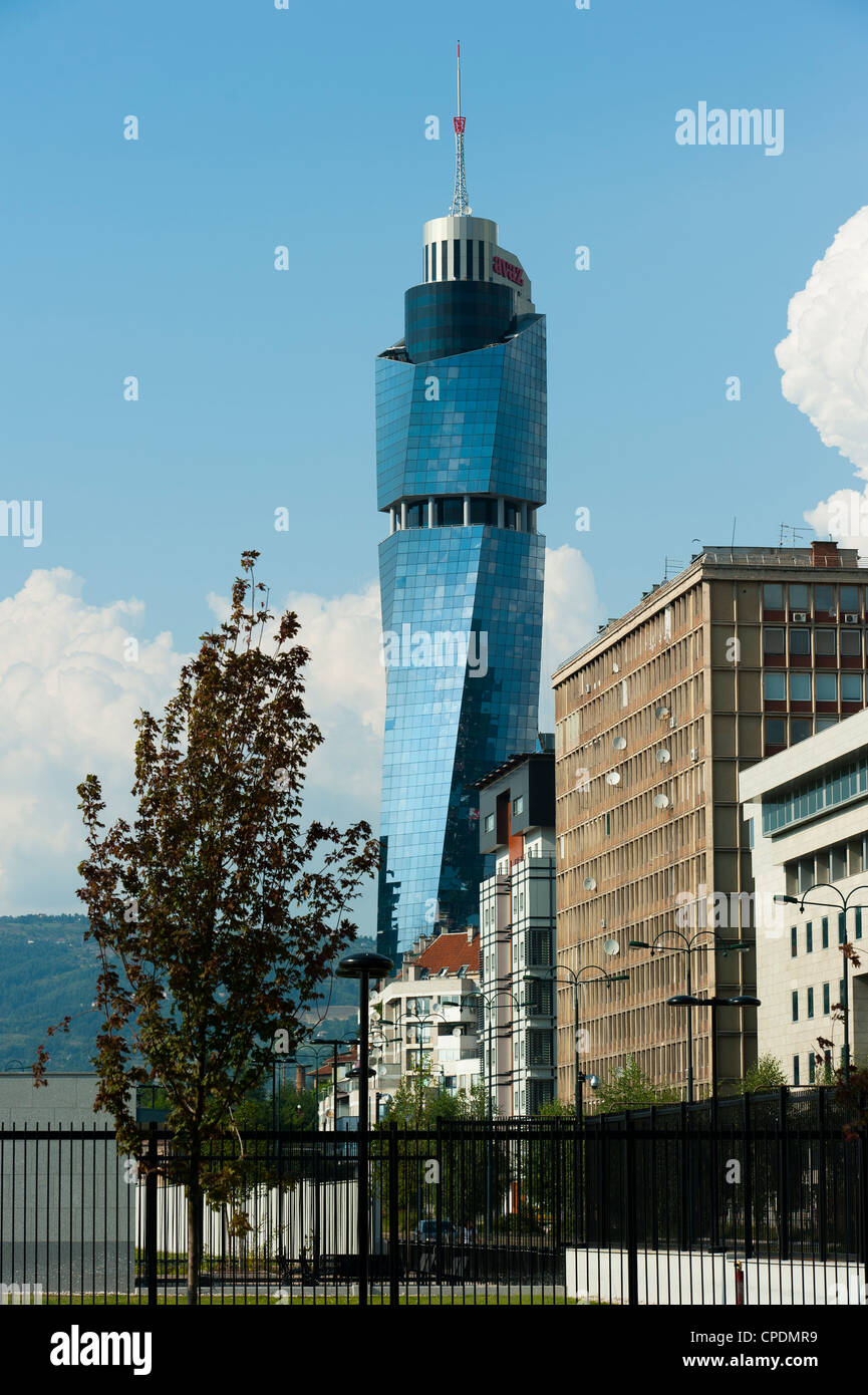 Avaz Twist Tower, headquarters of the newspaper Dnevni Avaz, Sarajevo, Bosnia and Herzegovina, Europe - Stock Image
