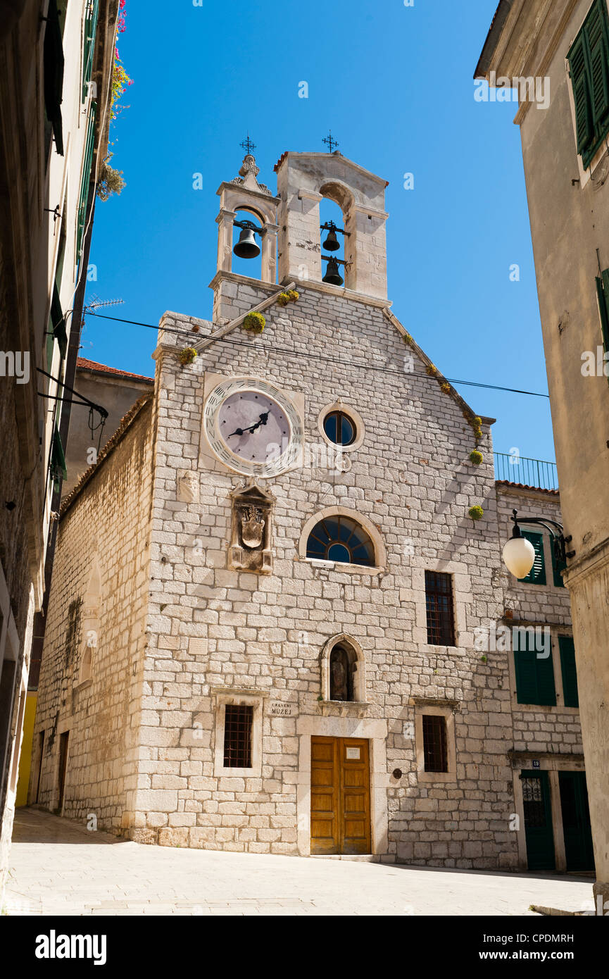 Crkveni Muzej (Museum of Crkveni), Crkvi Sv. Barbare (Church of St. Barbara), Sibenik, Dalmatia region, Croatia, - Stock Image