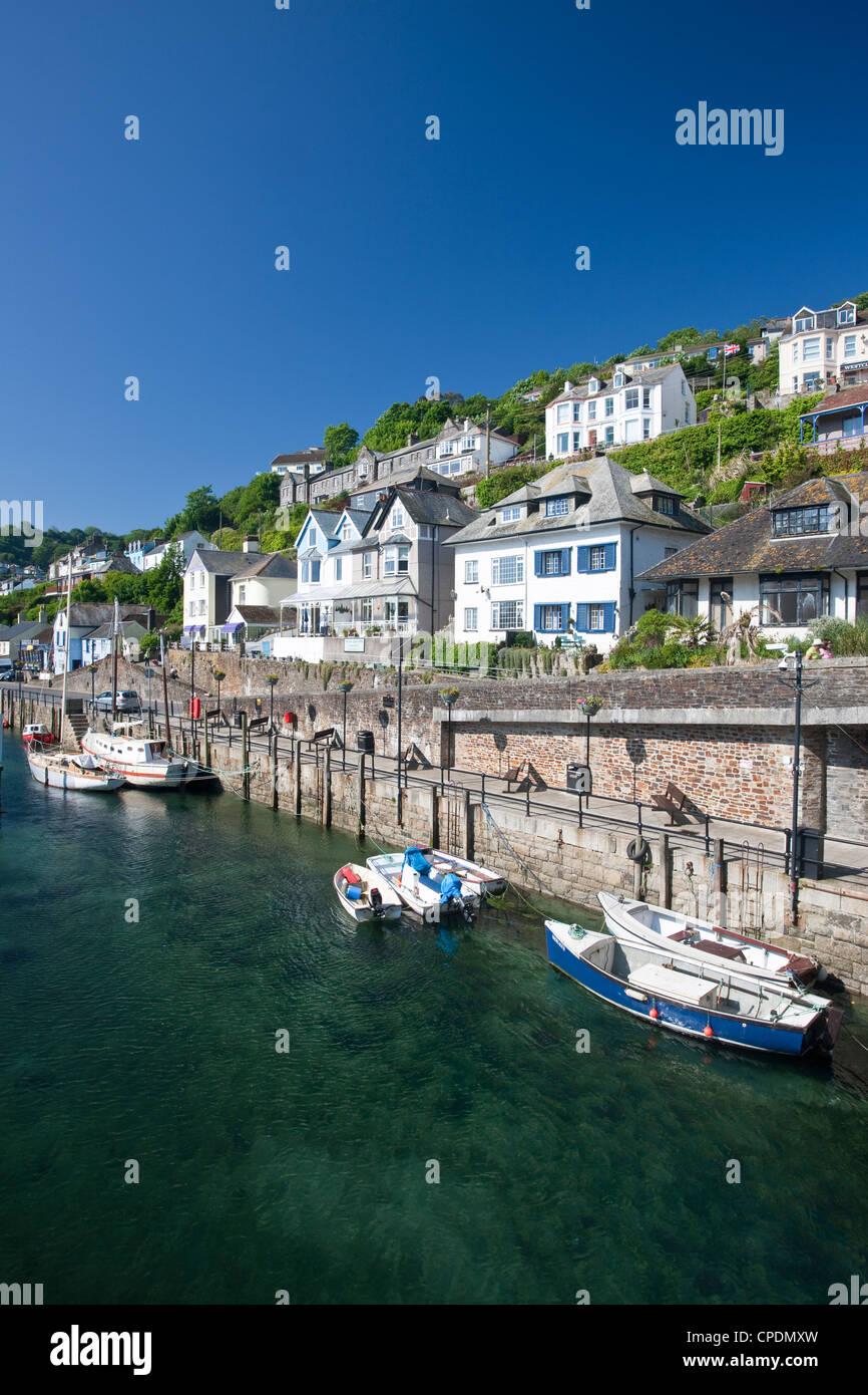 Riverside properties at Looe, Cornwall, England, United Kingdom, Europe - Stock Image