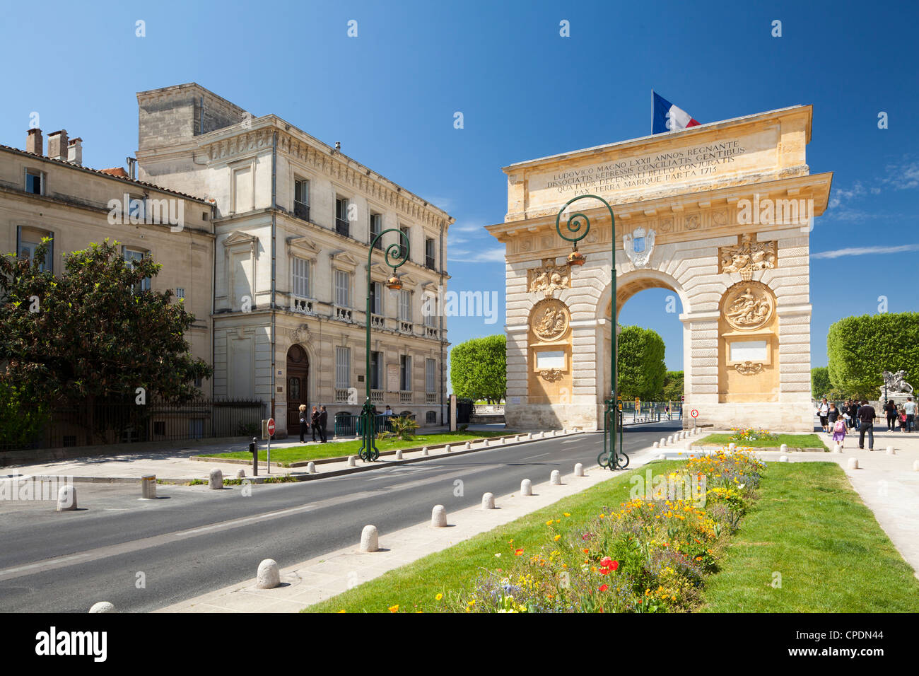 The Arc de Triomphe, Rue Foch, Montpellier, Languedoc-Roussillon, France, Europe Stock Photo