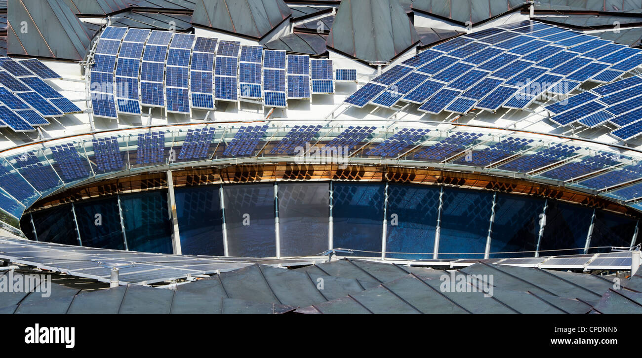 The Core roof solar panels, Eden project, Cornwall, England - Stock Image