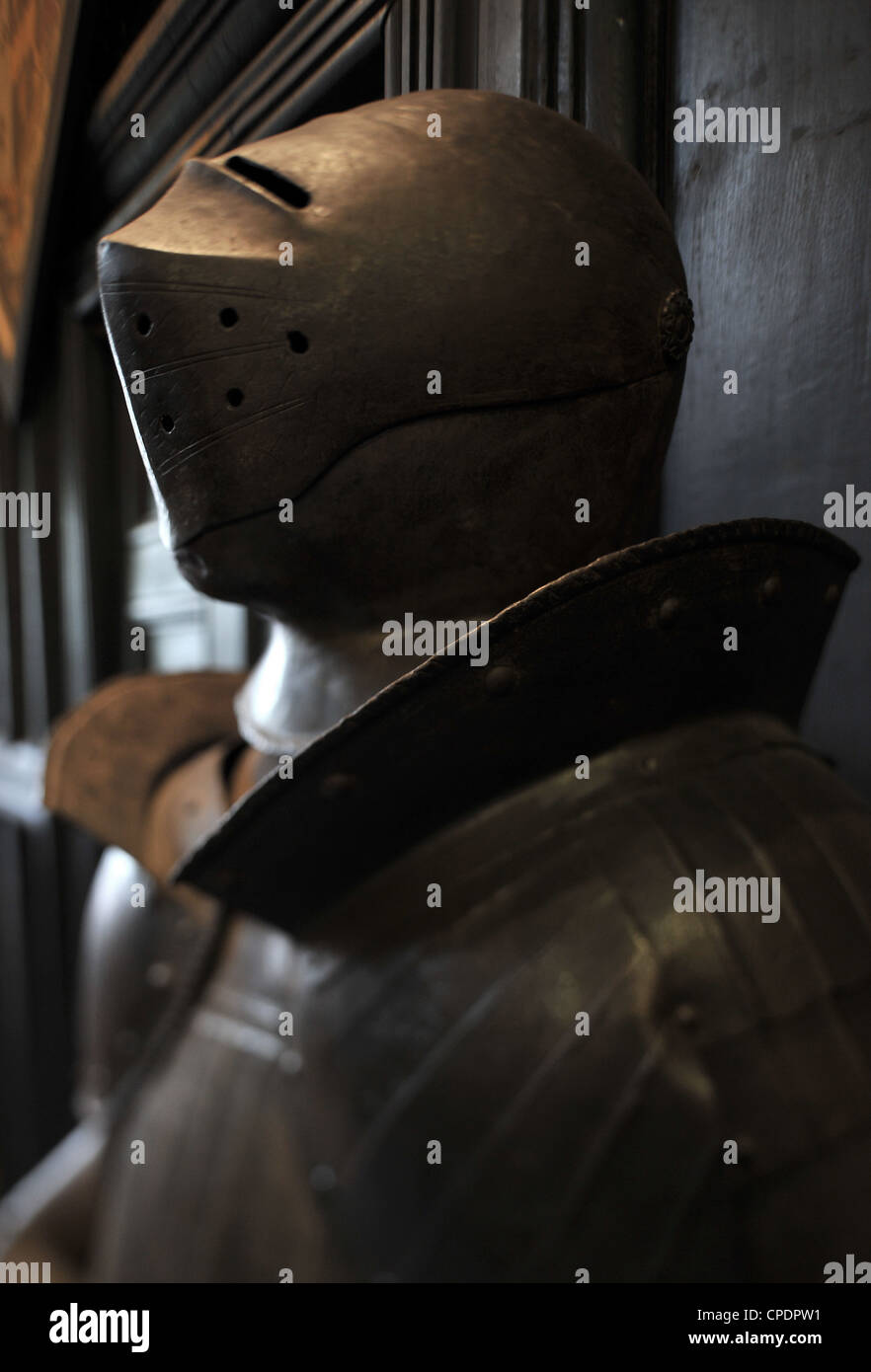 British medieval suit of armor helmet - Stock Image