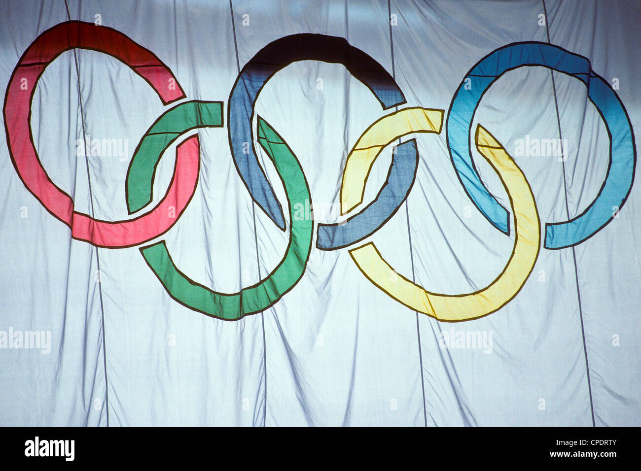 Olympic Flag at the 1988 Olympic Summer Games, Seoul Korea. - Stock Image