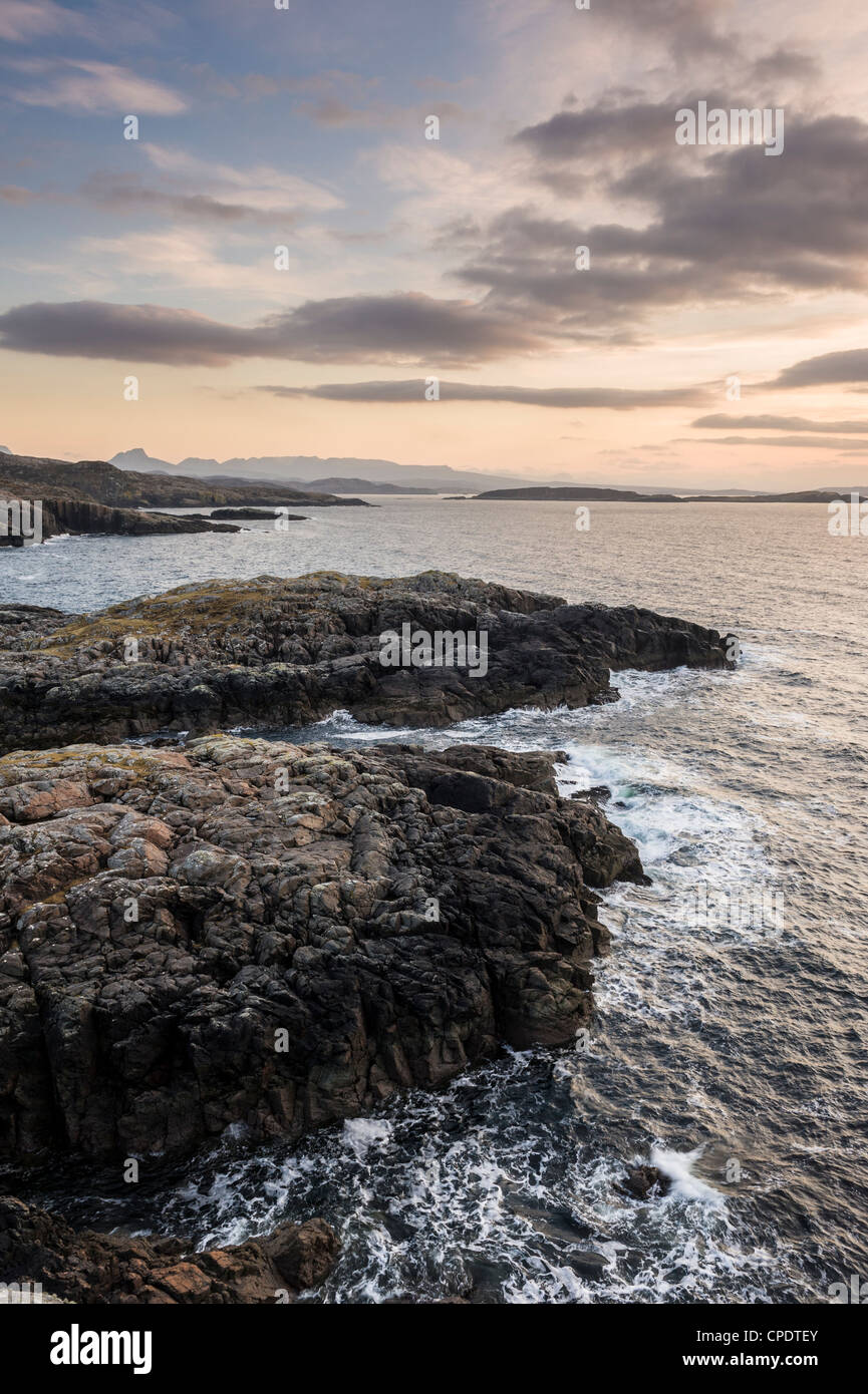 Rocks looking out to sea, Scotland, UK Stock Photo