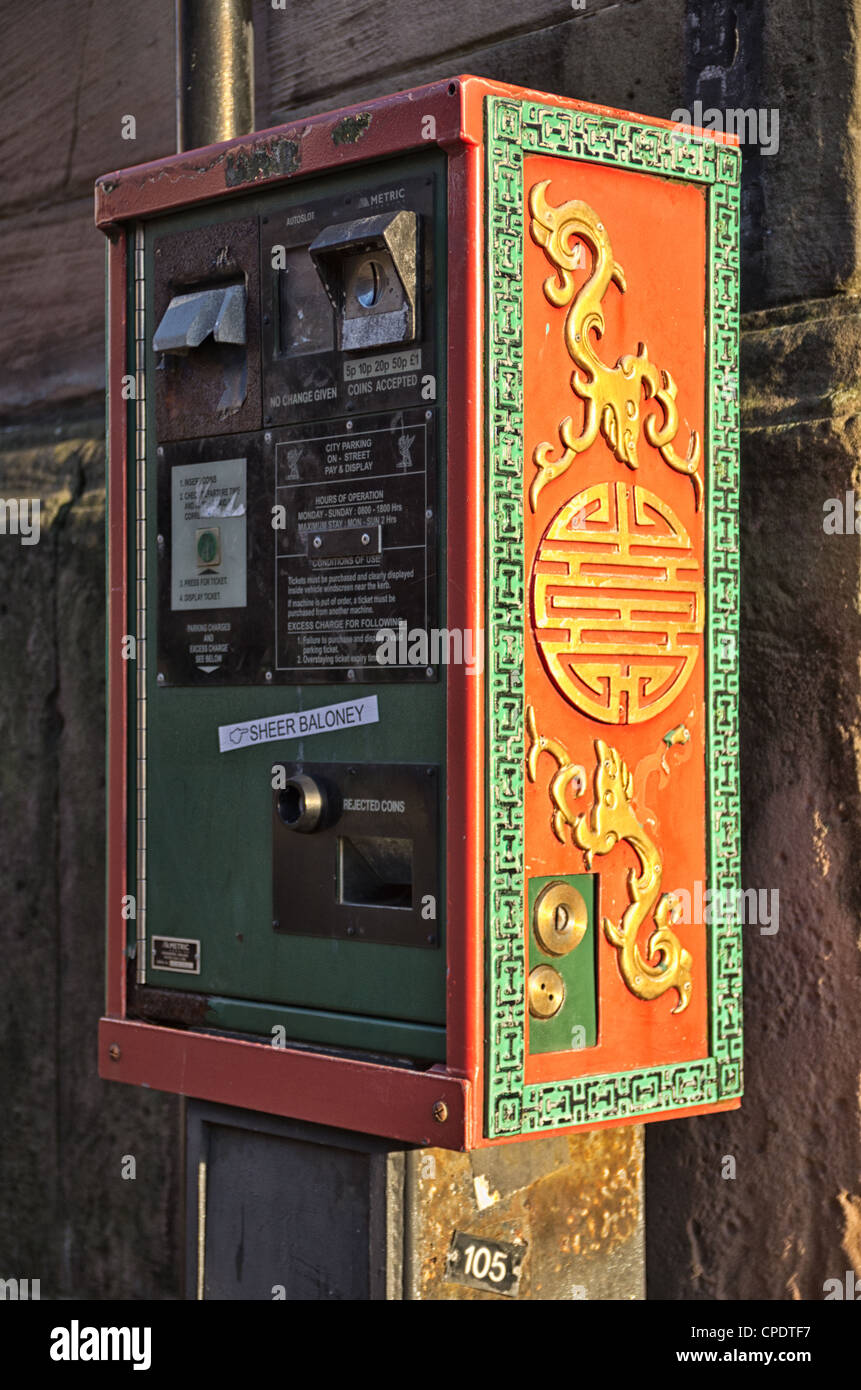 Parking meter China Town Liverpool - Stock Image