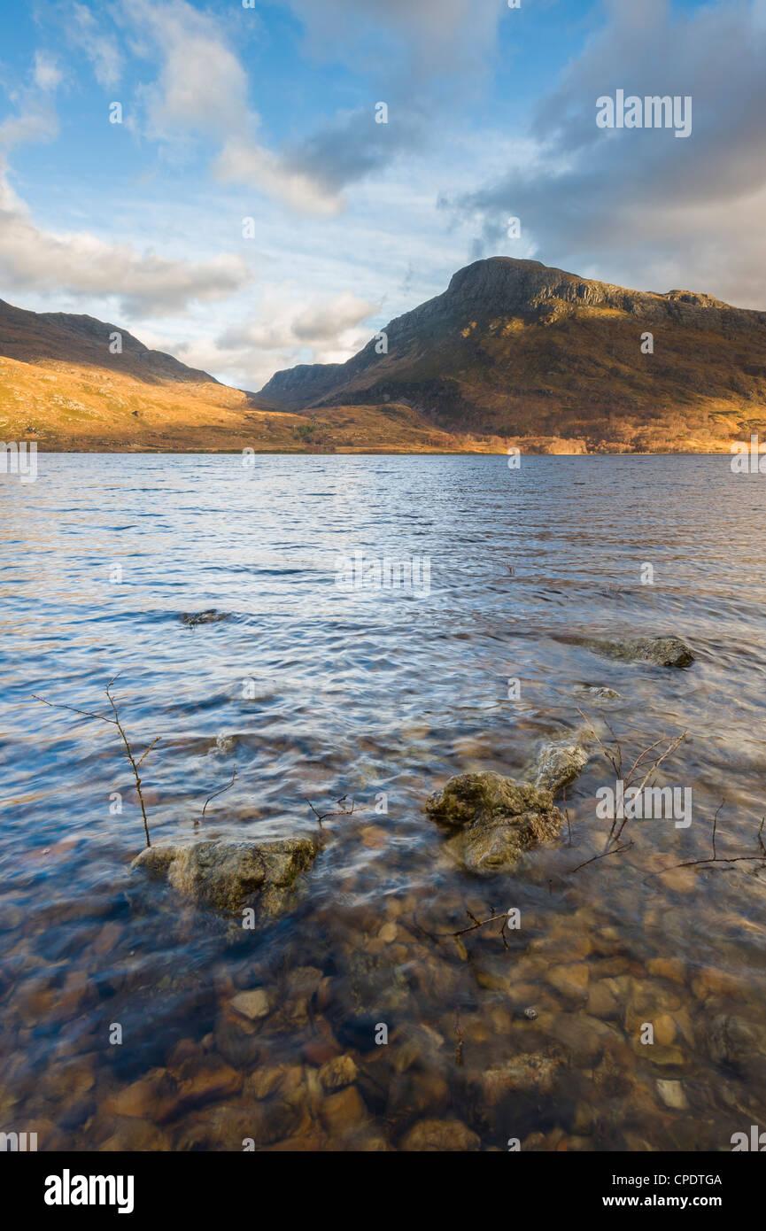 Loch Maree and Beinn a Mhuinidh mountain, Highlands, Scotland, UK - Stock Image