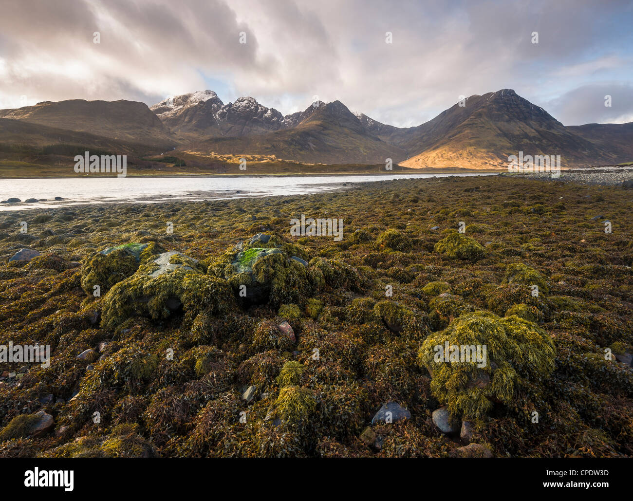Winter sunrise over Bla Bheinn and Loch Slapin, Isle of Skye, Inner Hebrides, Highlands, Scotland, UK - Stock Image