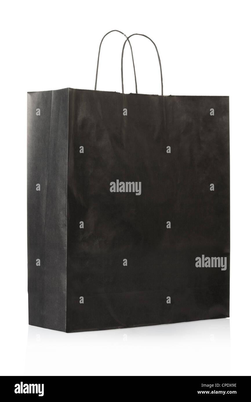 Black paper bag or shopper - Stock Image