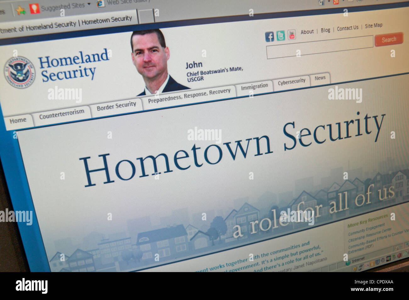 Screen shot of the (Department of) Homeland Security website, part of the United States federal government. - Stock Image