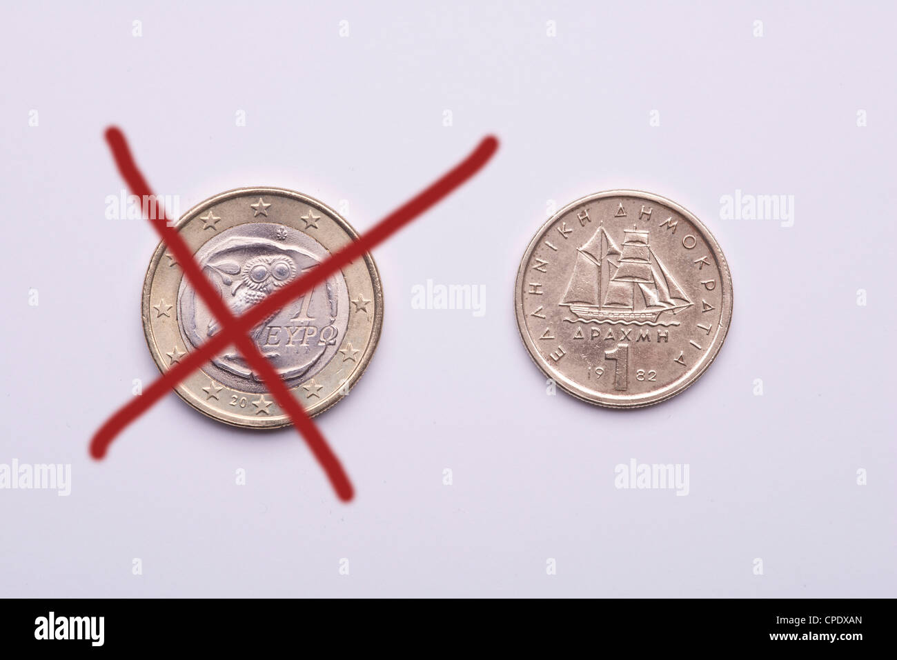 Economic crisis in Greece, the future of euro. the passage at dracma currency. Stock Photo