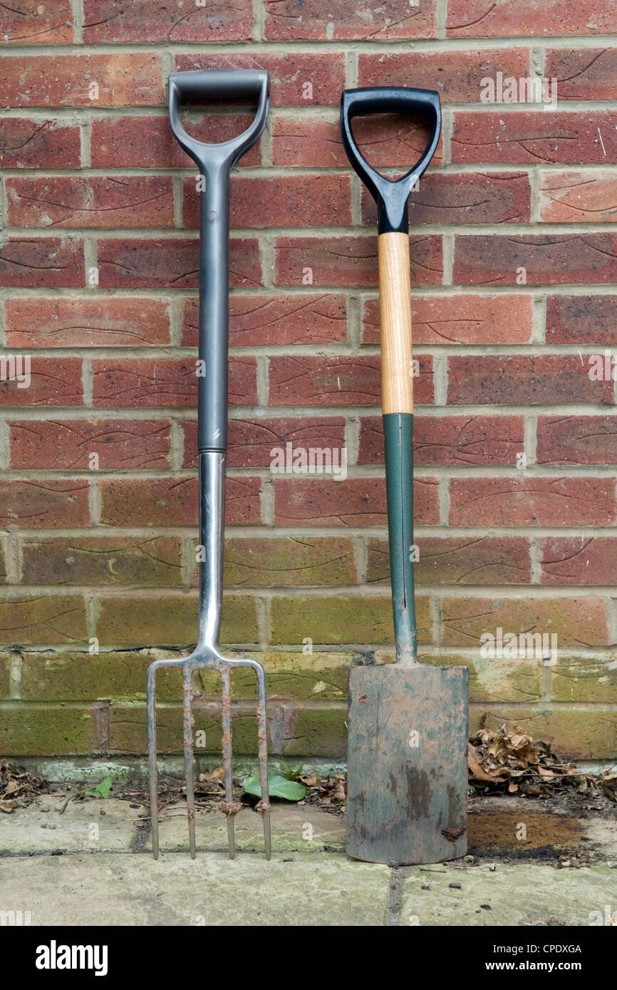 Long handled garden fork and spade resting against red brick wall in garden in Bristol, UK - Stock Image