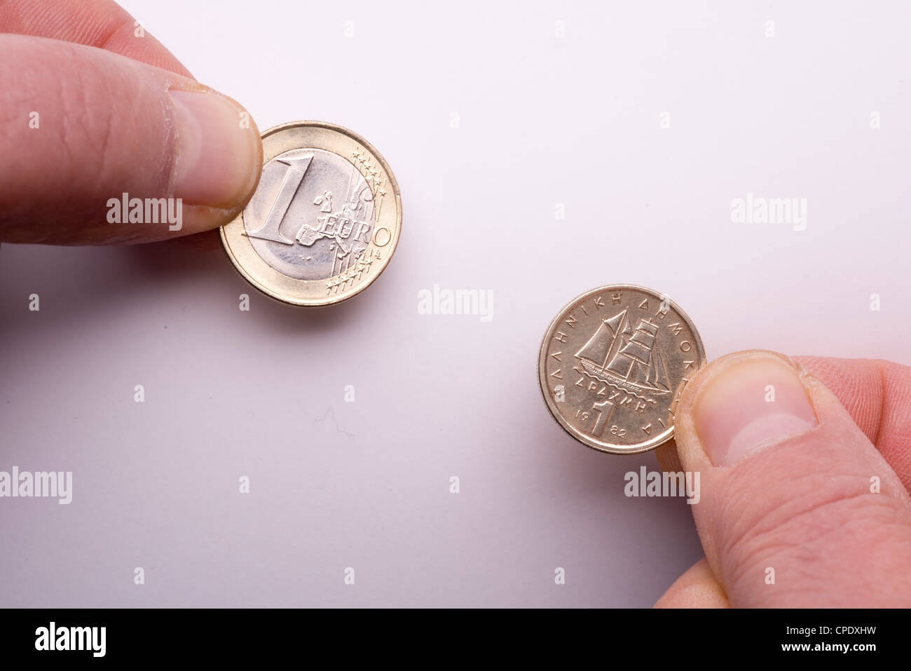 Economic crisis in Greece, the future of euro. the passage at dracma currency. - Stock Image
