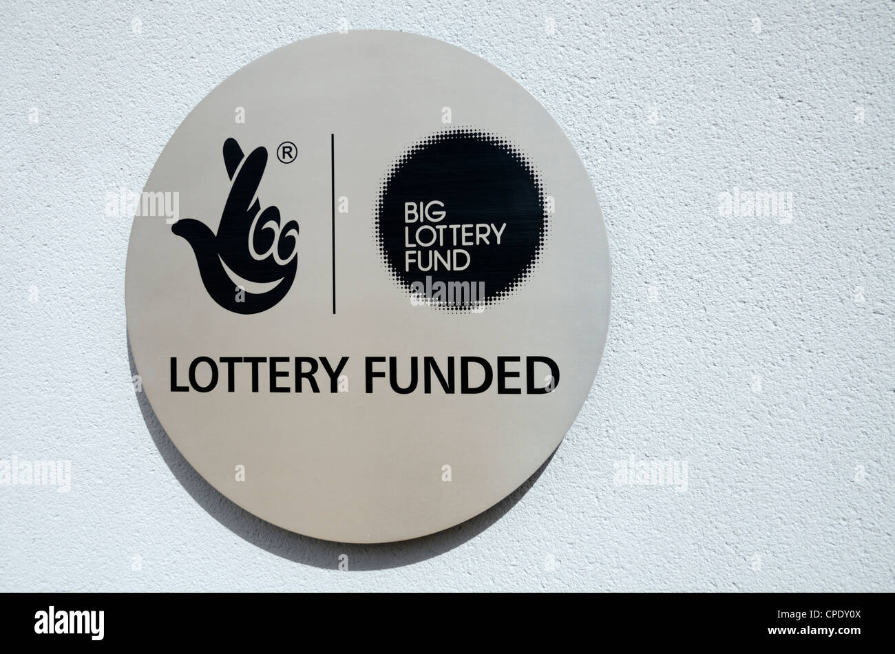 A ' Lottery Funded ' plaque - Stock Image