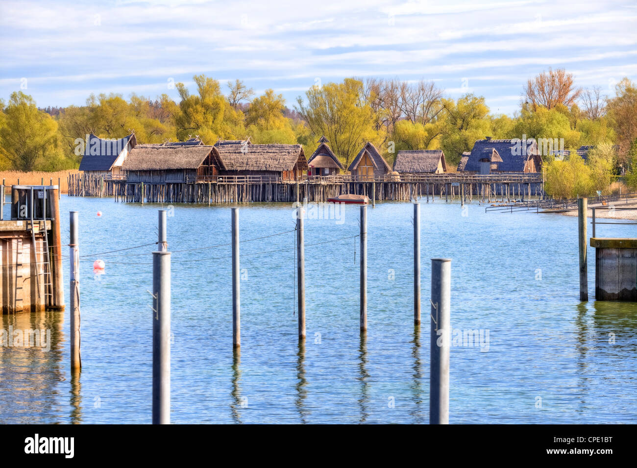 Stilts, open-air museum, Lake Constance, Baden-Wurttemberg, Germany - Stock Image