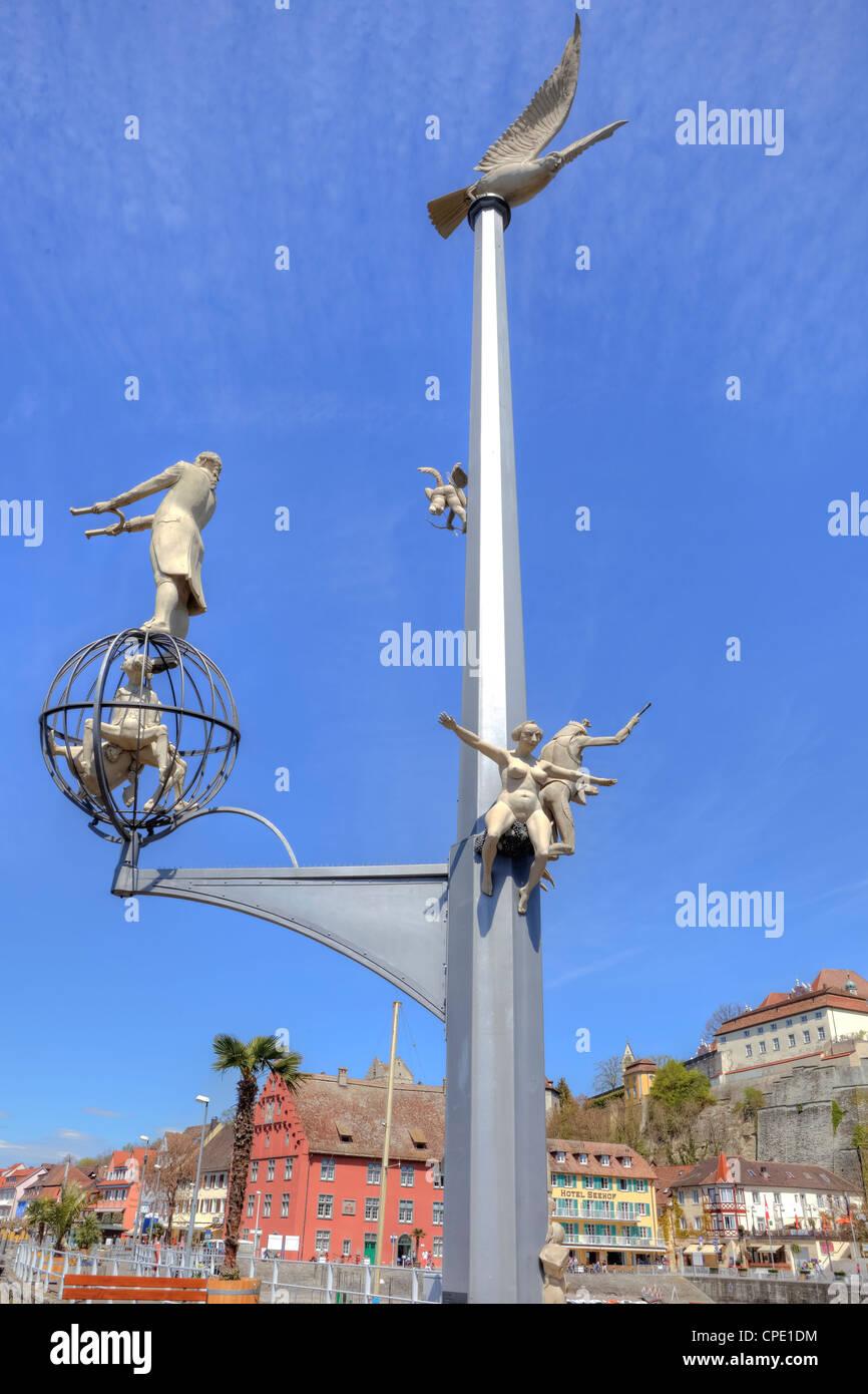 Magic column, Meersburg, Lake Constance, Baden-Wurttemberg, Germany - Stock Image