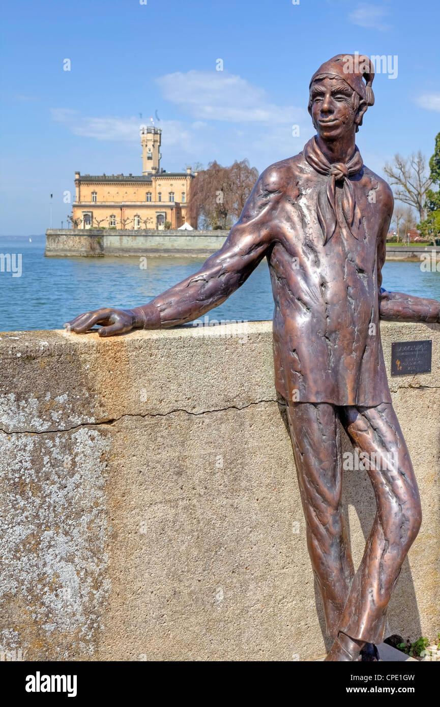Figur eines Dammglonkers am Hafen von Lagenargen, Baden-Württemberg, Deutschland - Stock Image