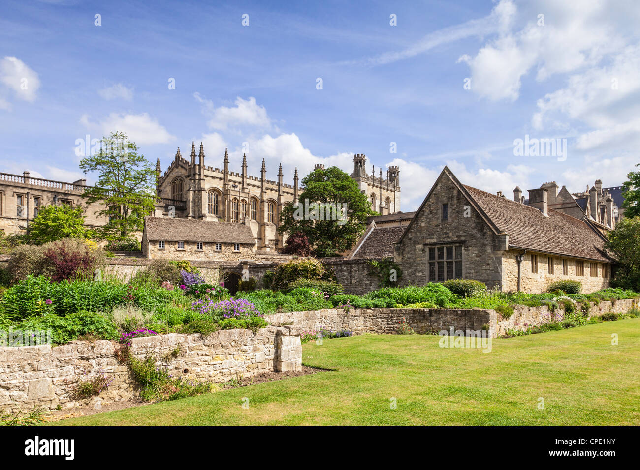 Christ Church Cathedral, Oxford, seen in spring from the War Memorial Garden. - Stock Image