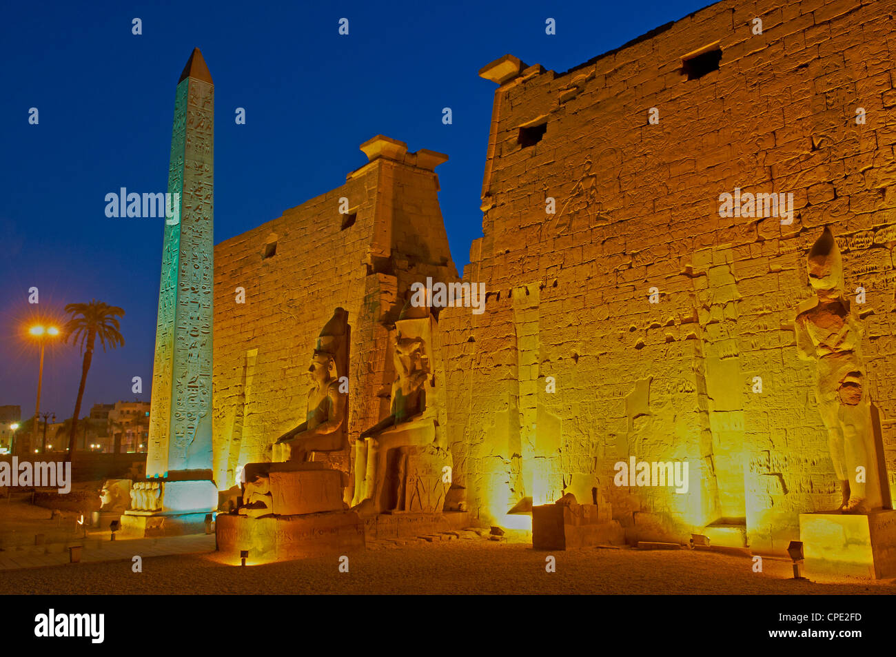 Obelisk of Ramesses II and pylons, Temple of Luxor, Thebes, UNESCO World Heritage Site, Egypt, North Africa, Africa - Stock Image