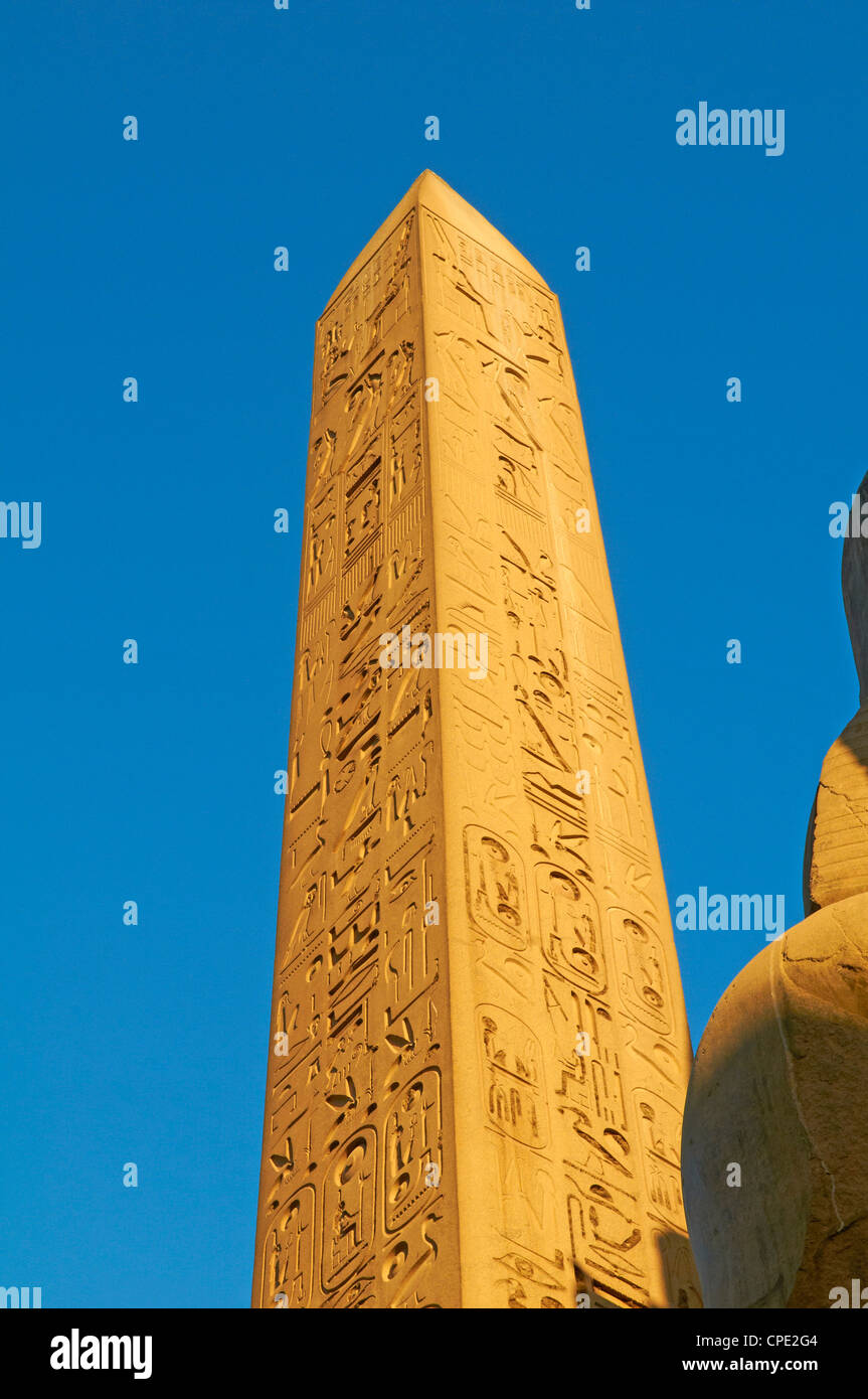 Obelisk of Ramesses II, Temple of Luxor, Thebes, UNESCO World Heritage Site, Egypt, North Africa, Africa - Stock Image
