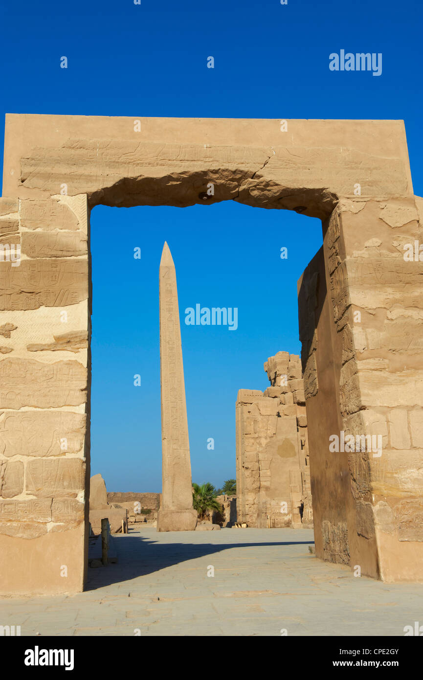Obelisk of Hatshepsut, Temple of Amun, Karnak, Thebes, UNESCO World Heritage Site, Egypt, North Africa, Africa - Stock Image