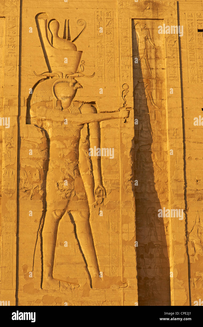Bas relief on the walls, Temple of Horus, Edfu, Egypt, North Africa, Africa - Stock Image