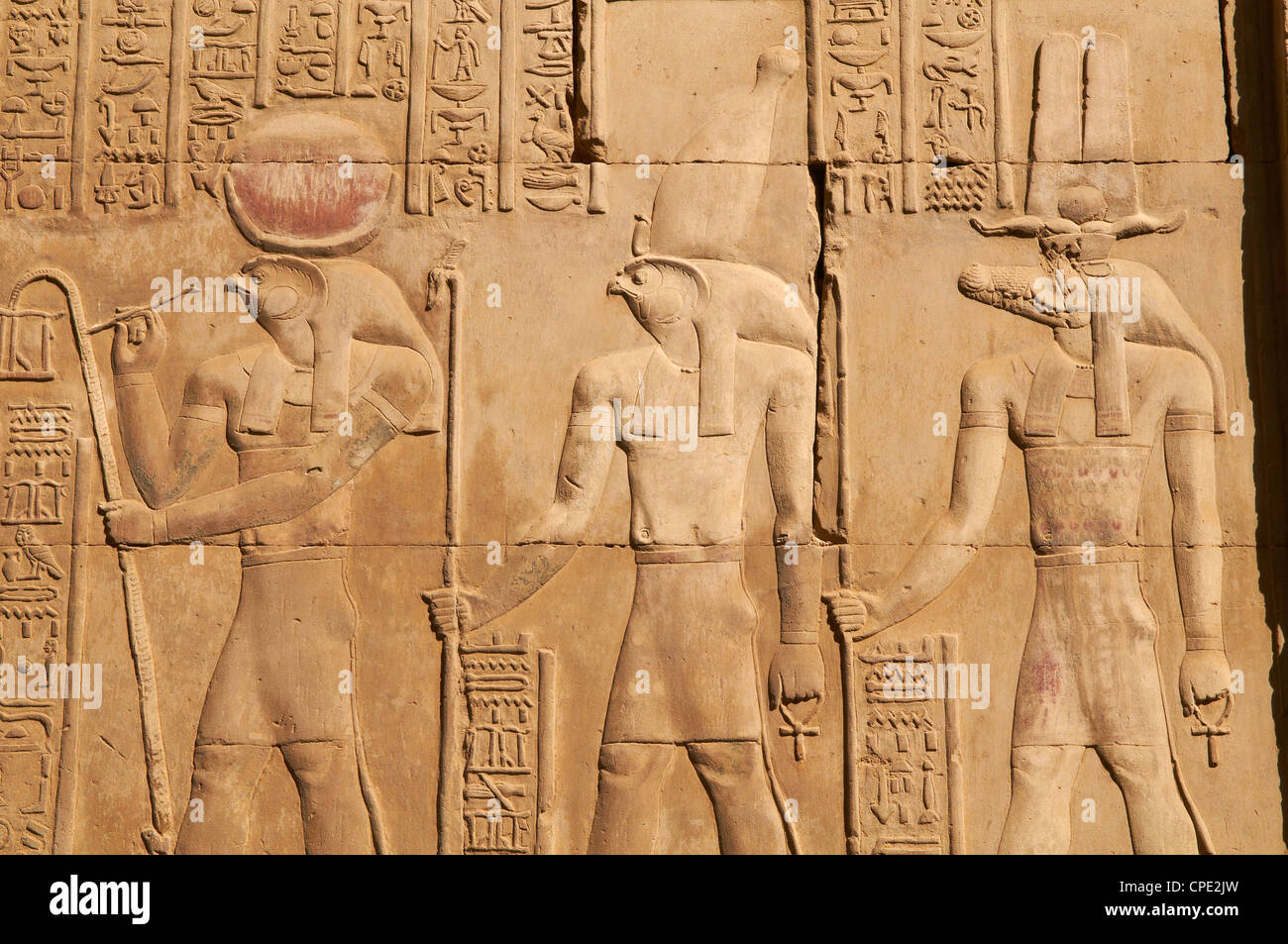 Bas relief, Temple of Sobek and Haroeris, Kom Ombo, Egypt, North Africa, Africa - Stock Image