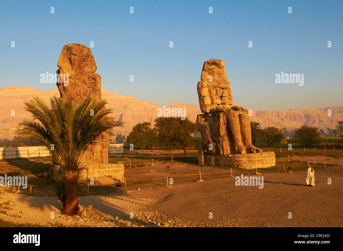Colossi of Memnon, carved to represent the 18th dynasty pharaoh Amenhotep III, West Bank of the River Nile, Thebes, - Stock Image