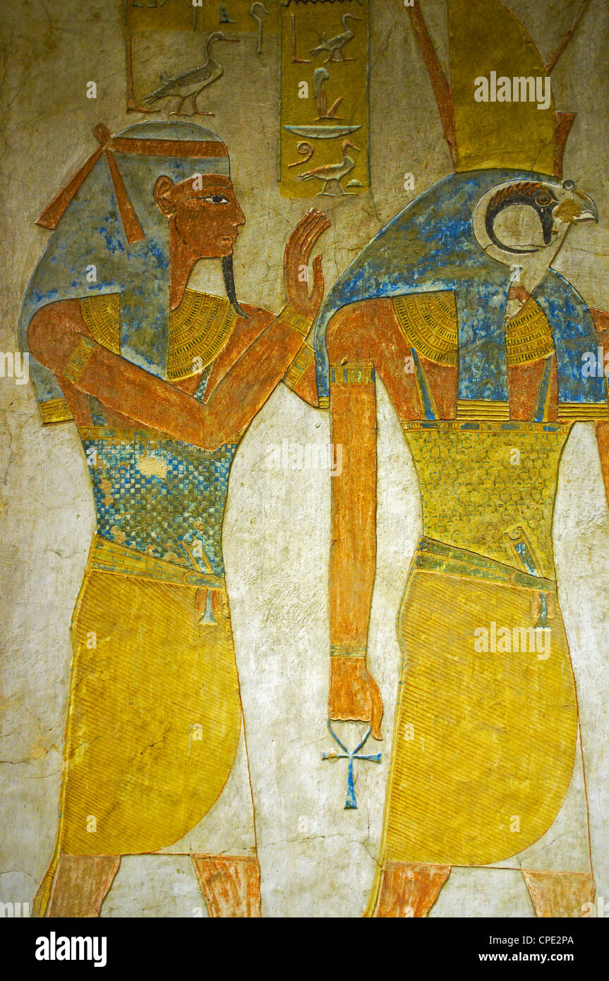 Bas-relief painted on the walls of the royal tomb, Setnakht tomb, Valley of the Kings, Thebes, Egypt, Africa - Stock Image