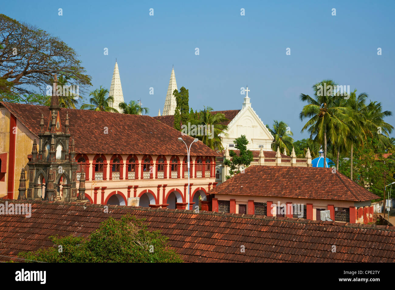 Santa Cruz Basilica and colonial style college, Fort Cochin, Kerala, India, Asia - Stock Image