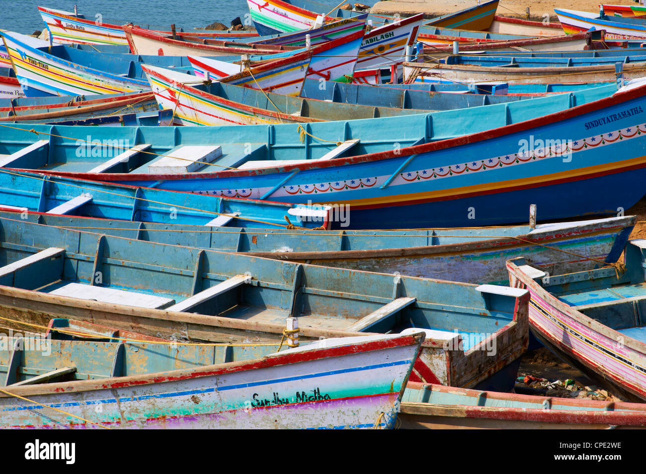 Vizhinjam, fishing harbour near Kovalam, Kerala, India, Asia - Stock Image