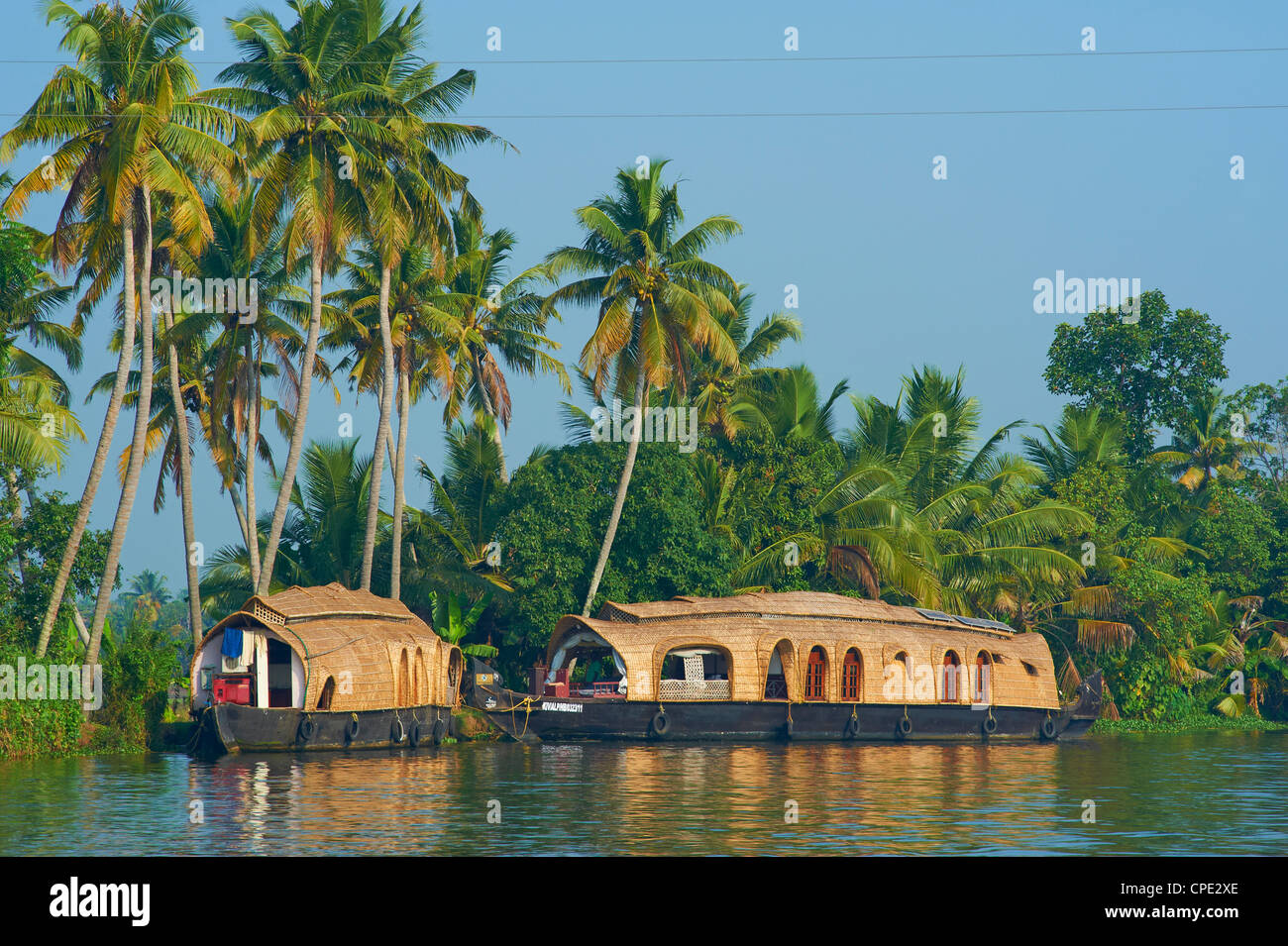 Houseboat for tourists on the backwaters, Allepey, Kerala, India, Asia - Stock Image