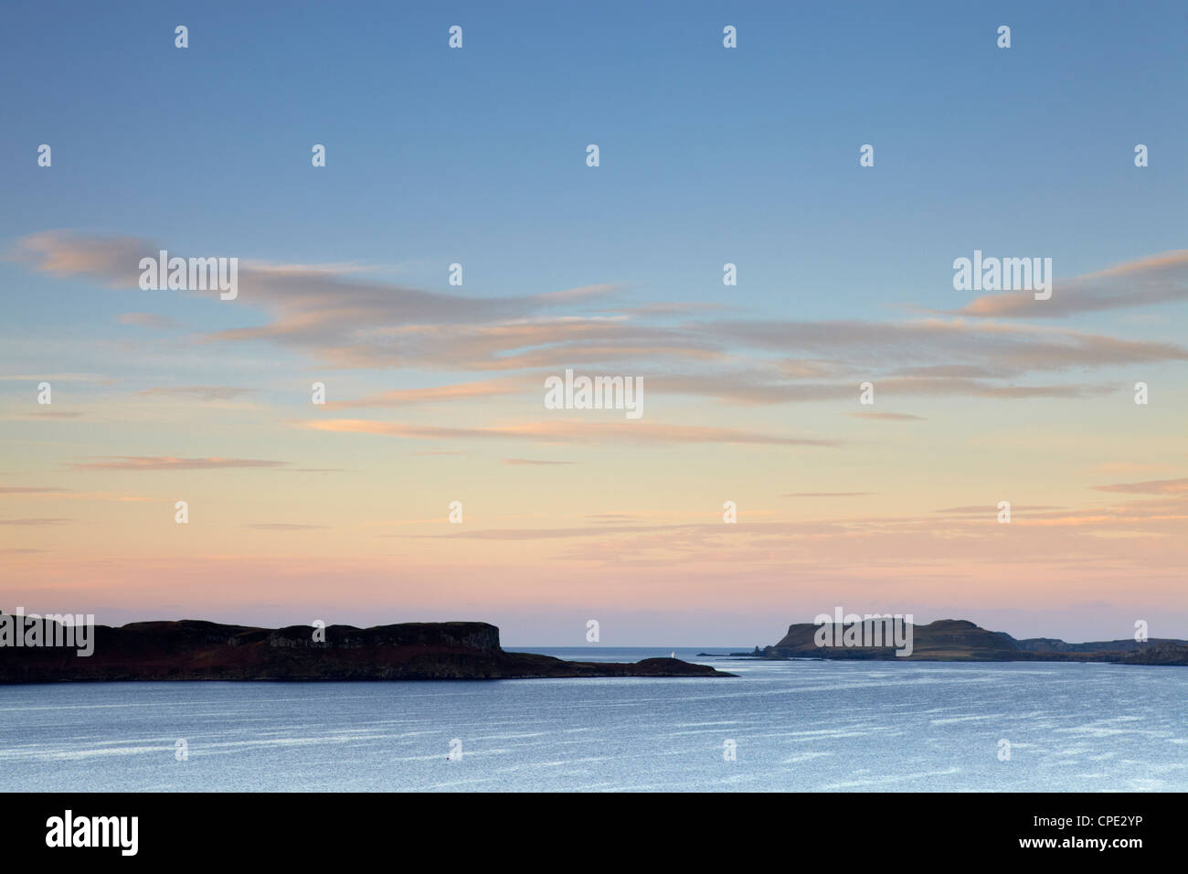 Morning colours with a view across Loch Bracadale, Isle of Skye, Inner Hebrides, Scotland, UK Stock Photo