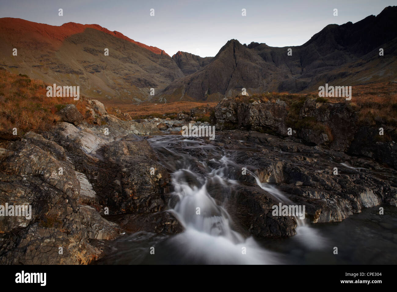 The Black Cuillin Hills viewed from the Fairy Pools circuit, Glen Brittle, Isle of Skye, Inner Hebrides, Scotland, - Stock Image