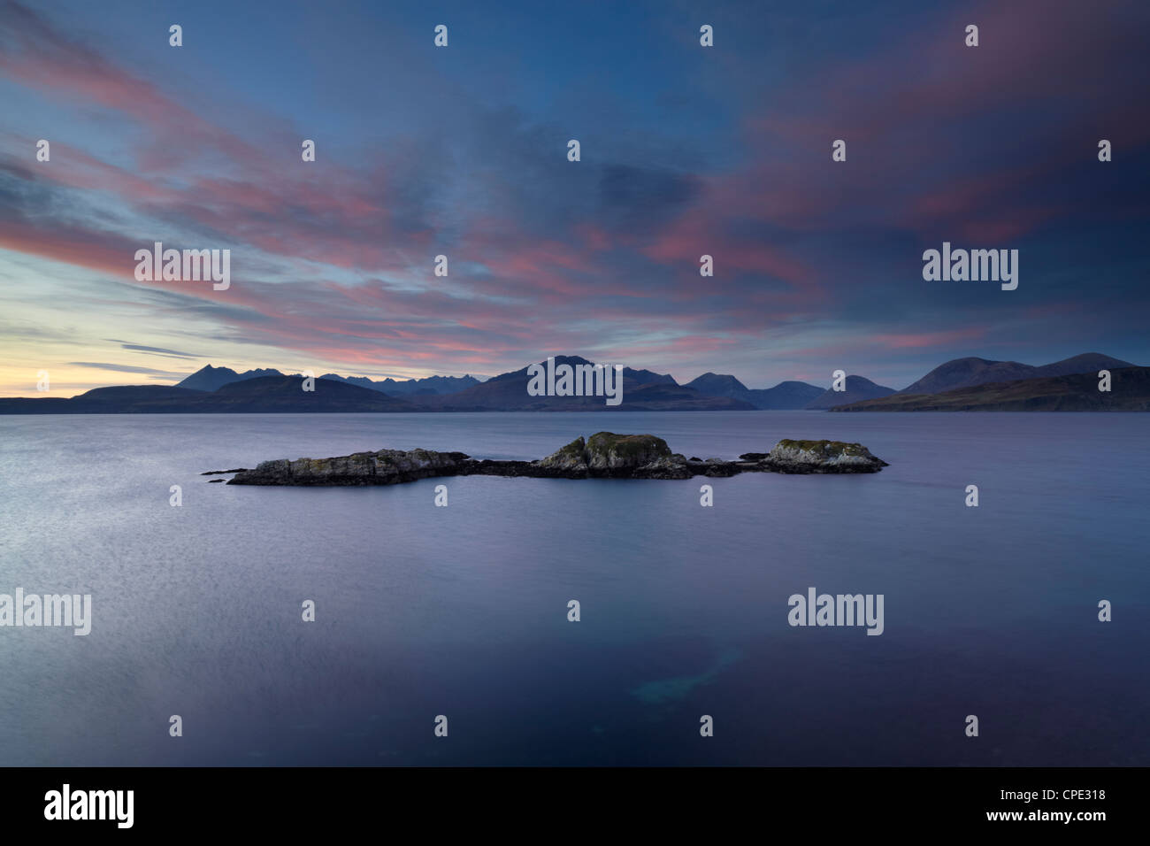 A view towards the Cuillin Hills from the Sleat Peninsula at Tokavaig, Isle of Skye, Inner Hebrides, Scotland, United - Stock Image