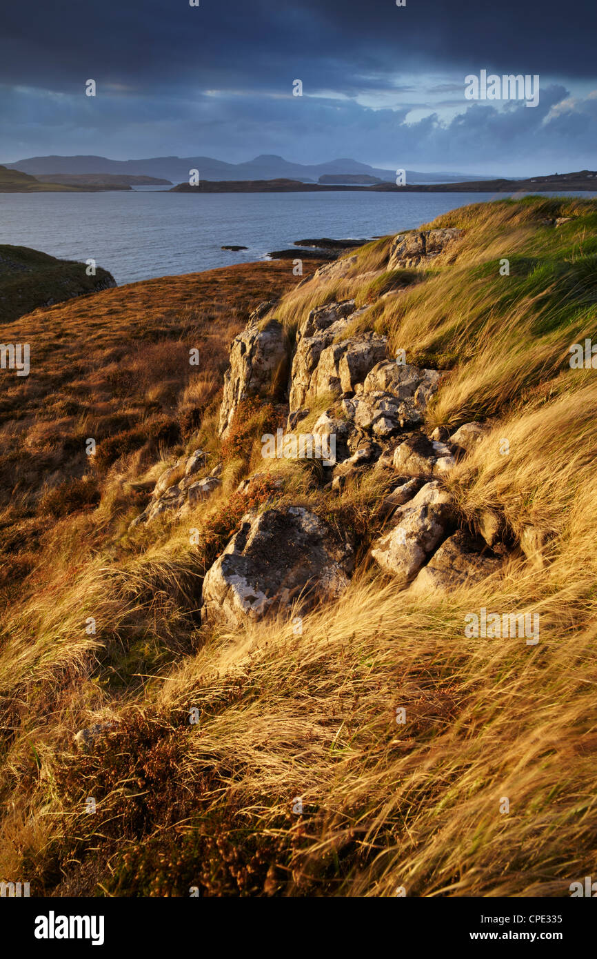 The view across Loch Bracadale and towards MacLeods Tables from Ardtreck point, Isle of Skye, Inner Hebrides, Scotland, UK Stock Photo