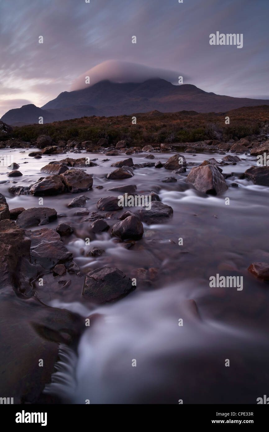 A beautiful early winter morning at Glen Sligachan, Isle of Skye, Inner Hebrides, Scotland, United Kingdom, Europe - Stock Image
