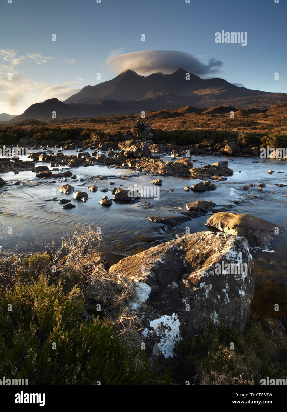 A winter morning view of the mountain Sgurr nan Gillean, Glen Sligachan, Isle of Skye, Inner Hebrides, Scotland, - Stock Image