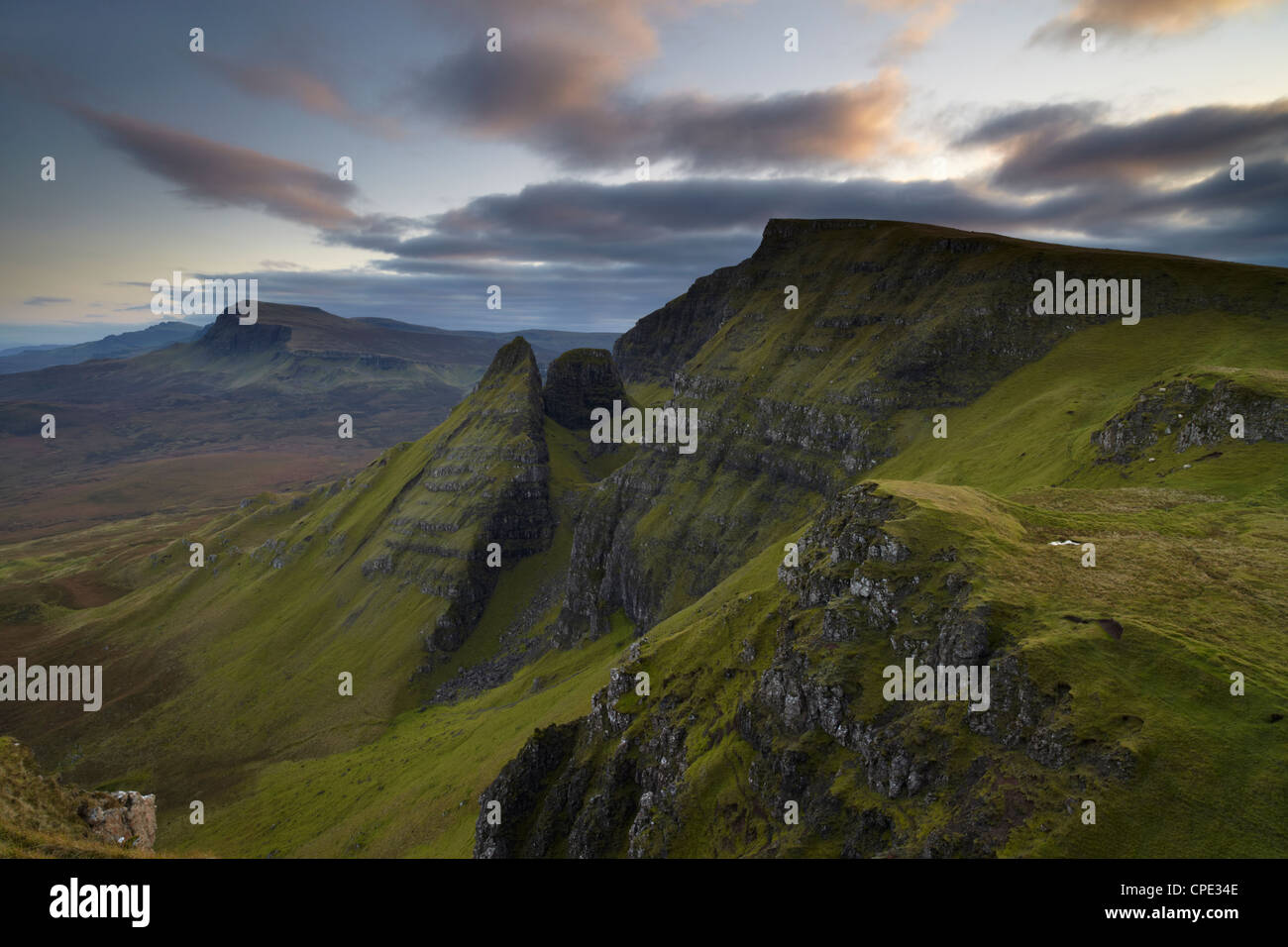 A view southwards along the Trotternish Peninsula from the mountain Bioda Buidhe, Isle of Skye, Inner Hebrides, - Stock Image