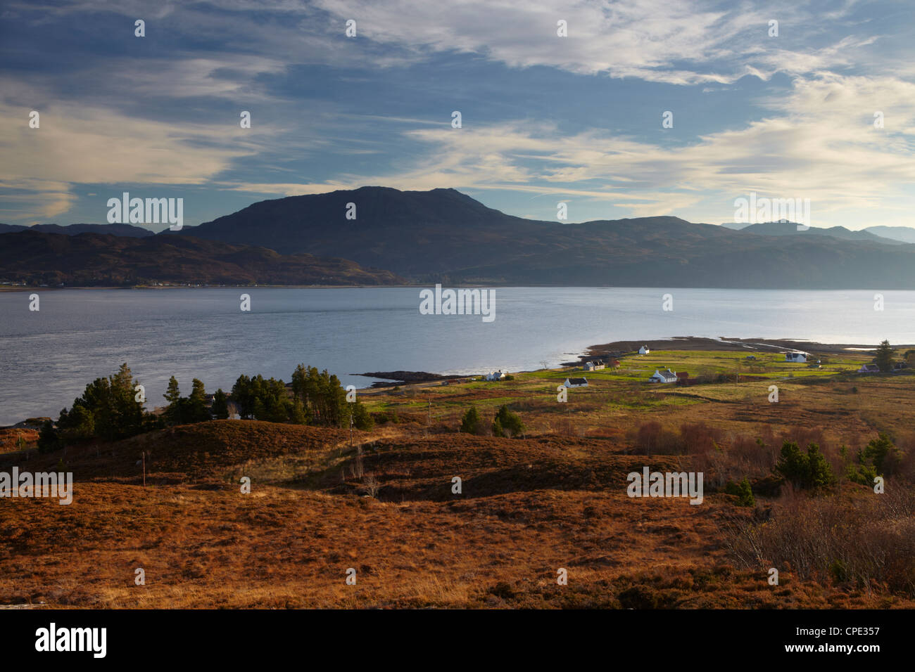 A view across the Sound of Sleat towards the Scottish mainland from Kylerhea, Isle of Skye, Inner Hebrides, Scotland, - Stock Image