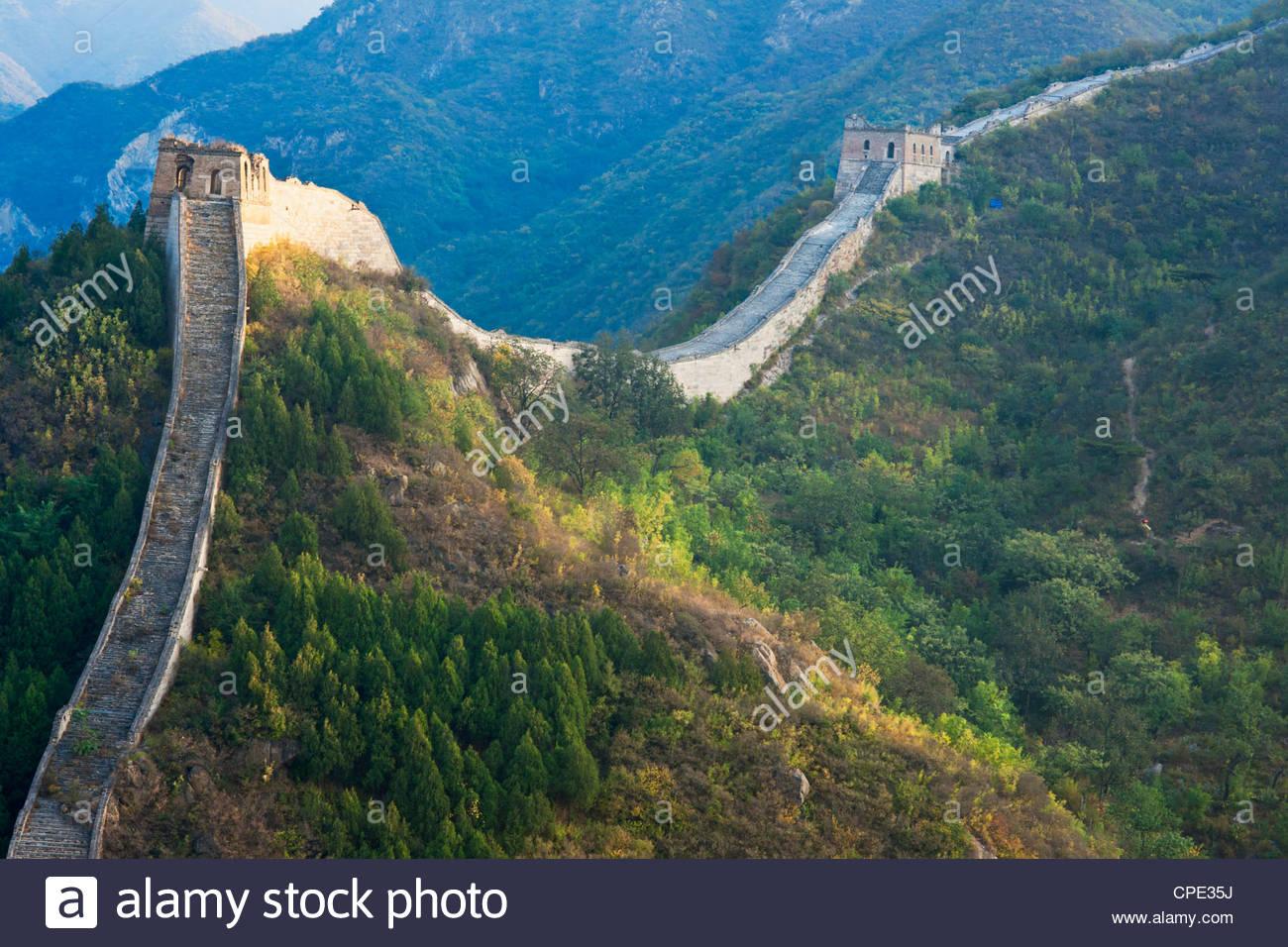 Overview of weathered section, Great Wall of China, Huanghuacheng (Yellow Flower), Wild Wall, Jiuduhe town, Huairou, Stock Photo
