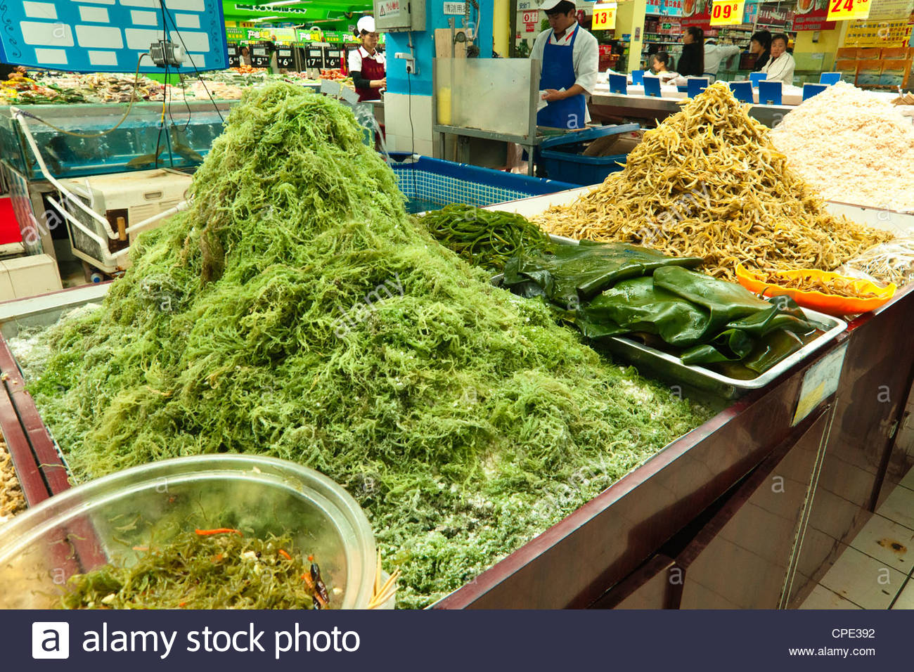 Kelp and other sea products in a local grocery store, Beijing, China, Asia - Stock Image