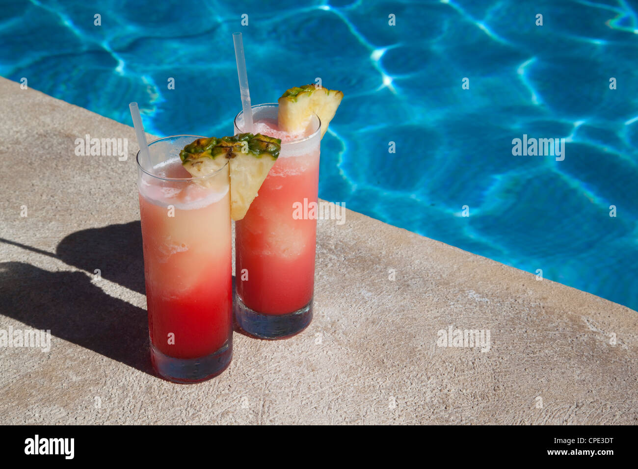 Colourful cocktails by the pool, Punta Cana, Dominican Republic, West Indies, Caribbean, Central America - Stock Image